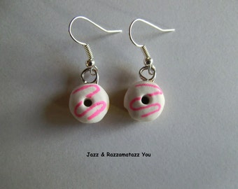 Handcrafted Fimo White Donut/Doughring Earrings