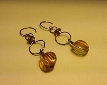 Golden dangle copper earrings