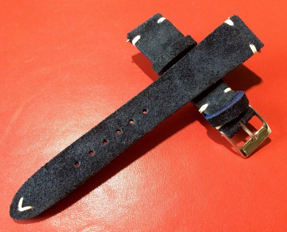 Hot mode and rare item!! suede Dark Blue color vintage Leather Strap for Rolex, IWC - 20mm/16mm, Limited item!