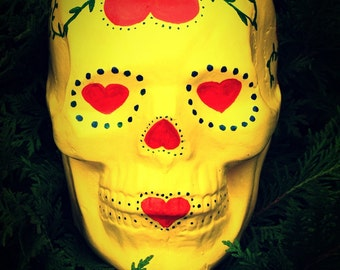 FREE SHIPPING Handmade Day Of The Dead Ceramic Mexican Love Sugar Skull