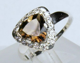 BROWN SMOKY QUARTZ Ring, Silver 925, with rhodium plated
