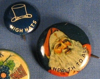 Vintage Advertising Pin Backs - Set of Two