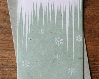 Icicles and Snowflakes Christmas Card