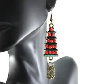 Pagoda earrings/ wire wrapped pagoda earrings/Patina Pagoda earrings