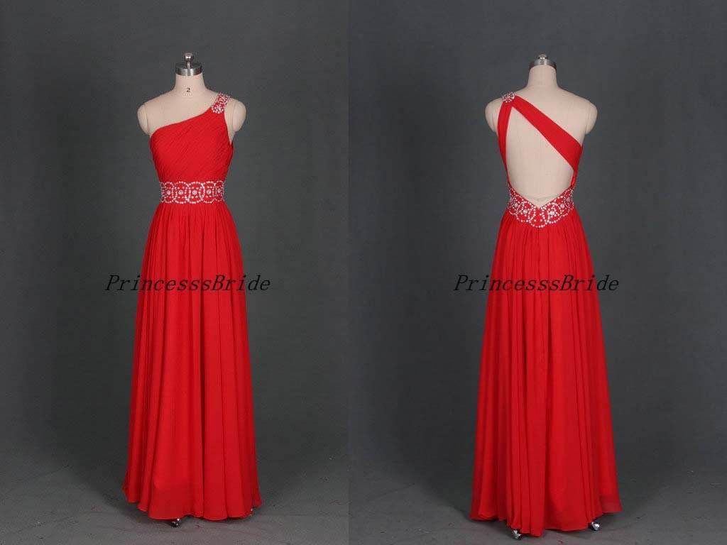 Latest long red chiffon prom gowns with rhinestonesfloor