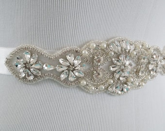 Wedding Sash Belt, Bridal Belt, Wedding Sash, Crystal and Pearl Belt, Bridesmaid Sash, Style 147