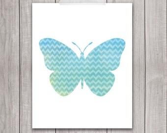 Butterfly Art Print - 8x10 Printable Wall Art, Butterfly Print, Butterfly Wall Art, Nursery Printable, Watercolor, Blue
