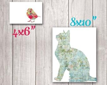 75% OFF SALE - Cat and Bird Artwork (Set of 2) - Cat Art Print, Bird Art, Cat Wall Decor, Bird Print, Cat Print, Cat Printable