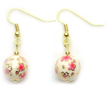 Japanese Earrings - Tensha Bead Earrings  (Cream with Cherry Blossom Sakura Design) - Handmade Earrings