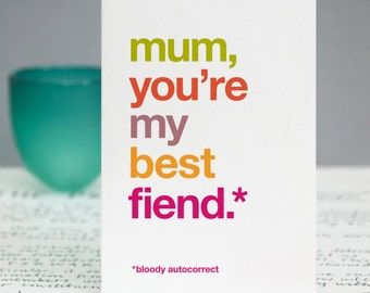 Mum Funny Card - Thank You Mum Card - Autocorrect - Auto Correct - Witty Mother's Day - Card For Mum - Birthday Card Mom - FREE UK DELIVERY