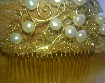 Hair Comb Wedding Bride Bridesmaid Gold, White Baroque Pearl and Swarovski Crystal OOAK