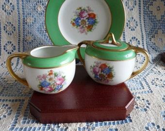 RS GERMANY Reinhold Schlegelmilch Vintage Set Creamer & Double Handled Sugar Bowl w/ Lid Set with Green Bands, Flowers..Gild Gold