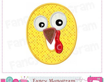 Thanksgiving Monogram O applique, Turkey Letter O applique, O,Letter design with Thanksgiving, Font O design,Machine Embroidery 02