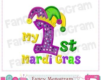 My 1st Mardi Gras,Mardi Gras design,Jester Hat,Mardi Gras applique,Babies applique,My 1st Birthday.-04