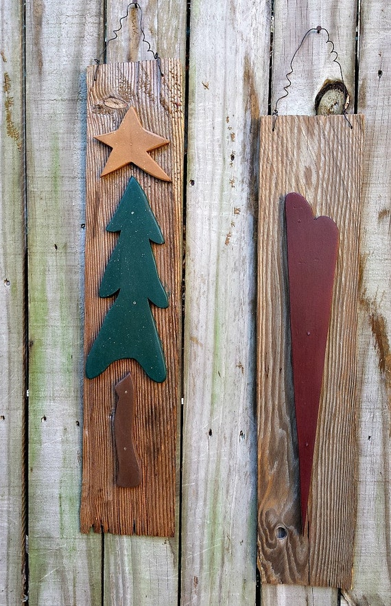 Primitive Christmas Wall Decor : Primitive christmas tree and heart wall by gypsywindprimitives