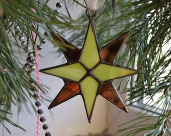 Star Suncatcher, Stained Glass Star Ornament in lime green and brown chocolate colors, Window art decor with modern geometric star design