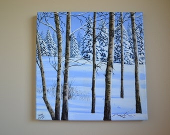 Winter Forest, 12x12' original acrylic winter landscape painting, snow scene, winter scene, christmas painting, aspens painting, forest art