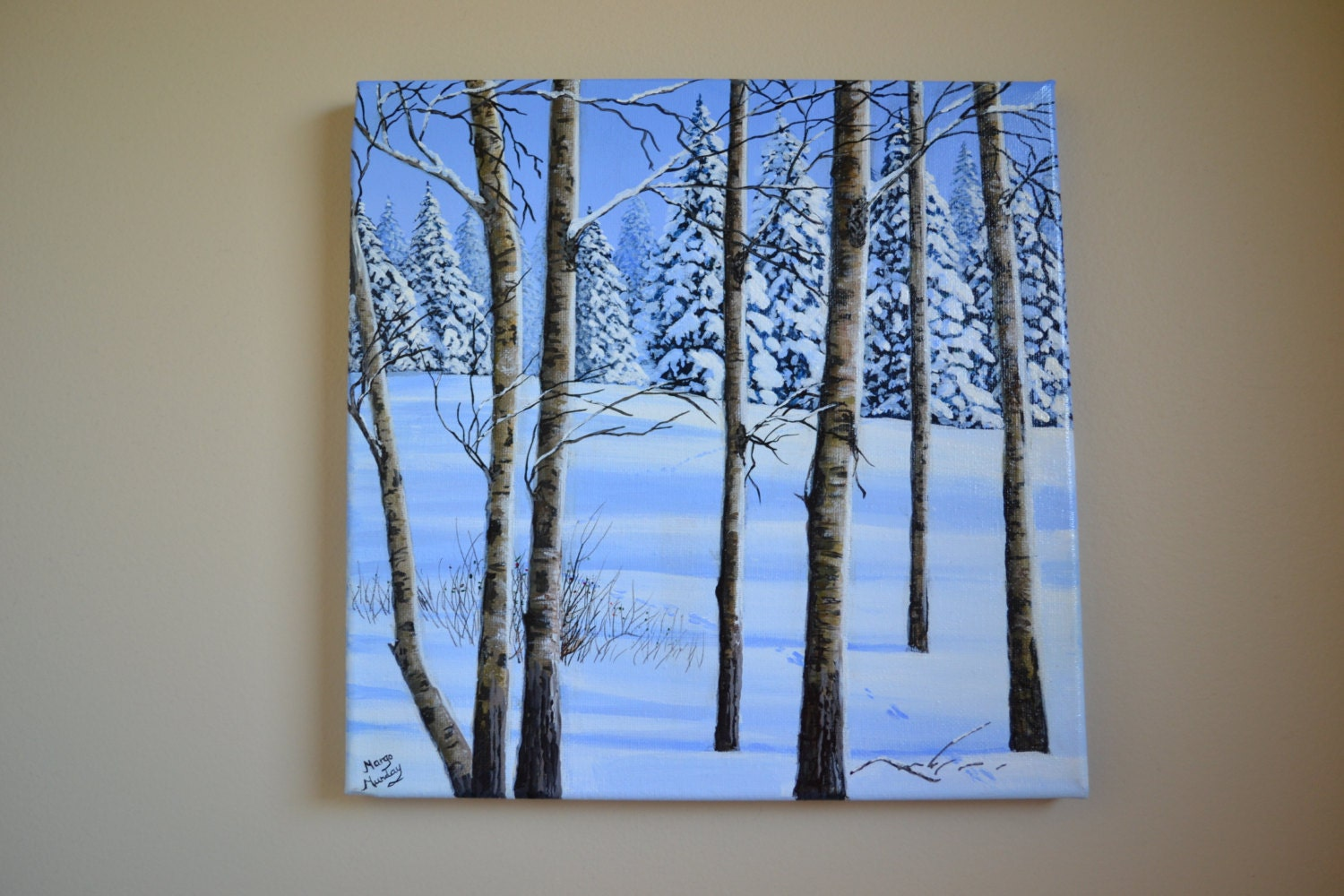 Original 12x12 39 acrylic winter landscape painting snow Christmas card scenes to paint