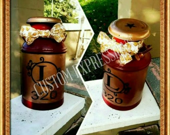 Decals for milk cans | decals with monogram | monogram milk can | monogram decal | name on milk can | milk can with name | decal for outside