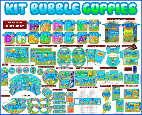 Bubble guppies printable kit for children party by paperplaymagic - Bubble guppies birthday banner template ...