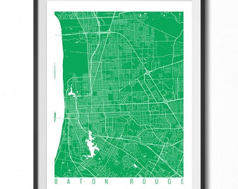 BATON ROUGE Map Art Print / Louisiana Poster / Baton Rouge Wall Art Decor / Choose Size and Color