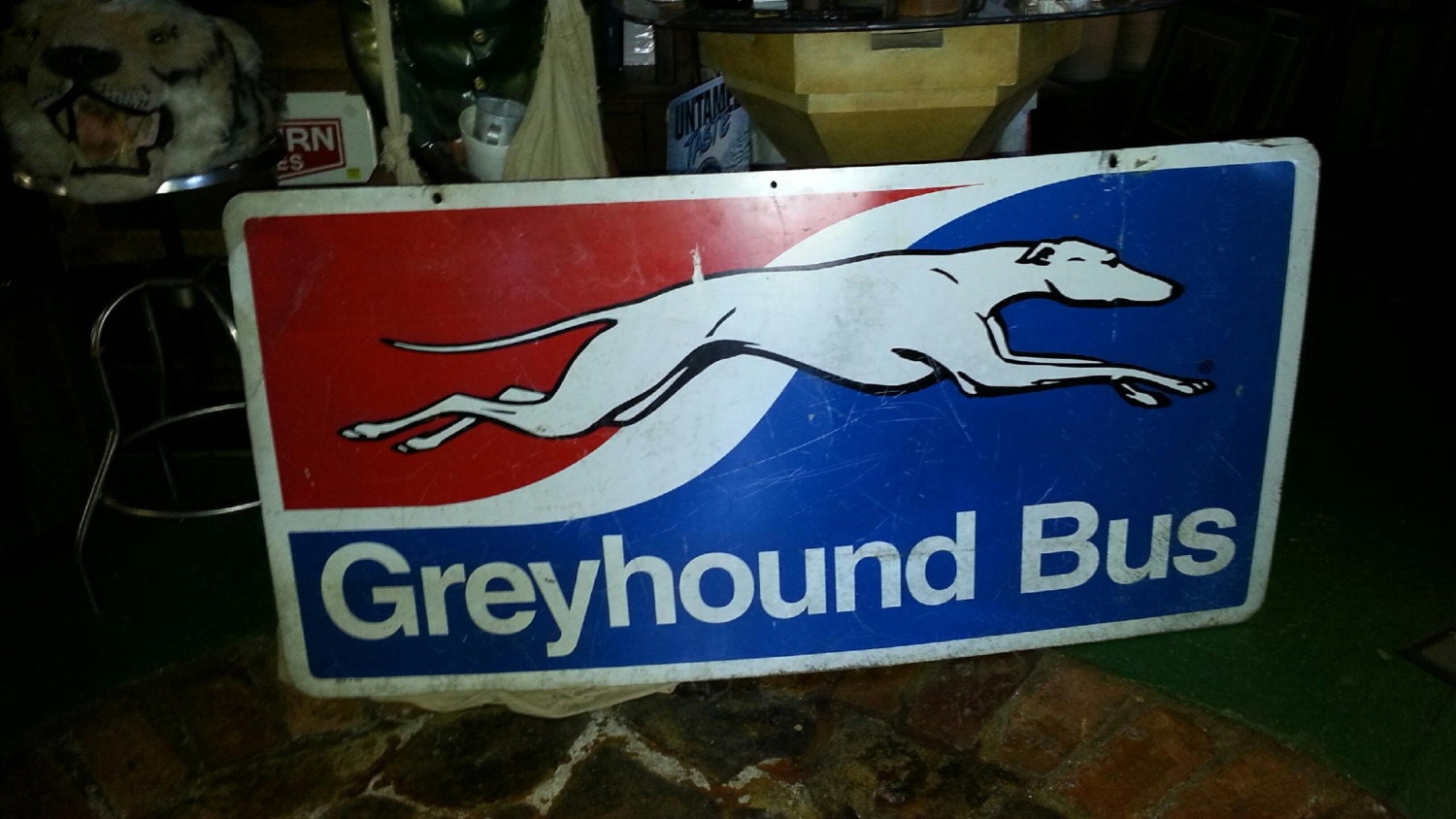 Vntage Greyhound Bus metal sign. Double sided by ...