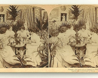 Antique 1907 Victorian Gossip Girls Stereograph Card – Free Shipping!