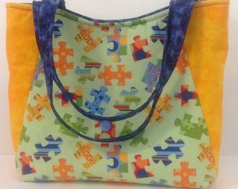 Autism Awareness purse puzzle pieces purse autism tote autism bag gifts for autism parents
