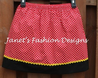 Disney's Minnie Mouse Skirt Women Style - Red, Hot Pink or Black Polka Dots Minnie Mouse Skirt - White Polka Dots Minnie Mouse Skirt Fashion