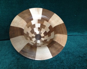 """8 3/4"""" #418 61 Pieces Black Walnut and Sugar Maple Segmented HAND-TURNED"""