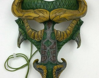 Green Dragon Face Leather Mask