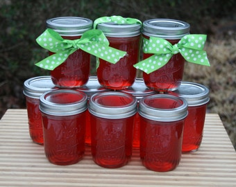 Candy Apple Jelly Preserves 8 oz Jam Homemade Half Pint Red with a hint of Cinnamon
