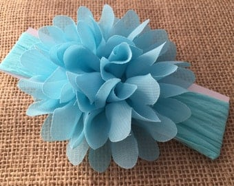 Blue flower headband, Blue nylon headband, Big flower headband, Headband with big flower, Newborn headband, Headband for Girls
