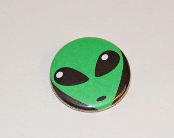 Green Alien Pinback Button