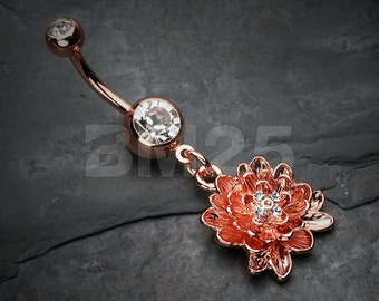 Rose Gold Divine Lotus Belly Button Ring