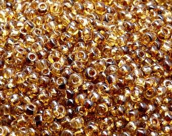 20gr Preciosa Czech Glass Seed Beads Rocailles Round 6/0 Crystal Travertine