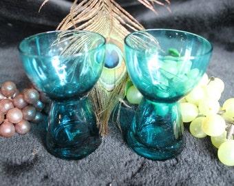 Set of 2 Retro Morgantown Glass Company Aqua Blue Candle Holders - Barton Pattern