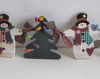 CIJ Snowman Garland Christmas Tree with Lights Snowman Decor Primitive Christmas Rustic Decor CIJ Christmas in July