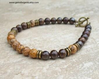 Brown Bronzite and Picture Jasper, Mens Beaded Bracelet, Mens Jewelry – B16