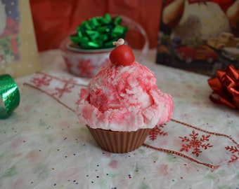 Chocolate Peppermint Ice Cream Cupcake Soy Candle