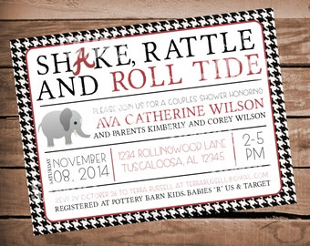 Alabama Houndstooth Baby Shower Invitation