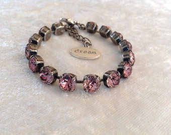 8mm antique pink swarovski crystal bracelet- pink- breast cancer awareness- supporting Cancer- necklace and earrings available