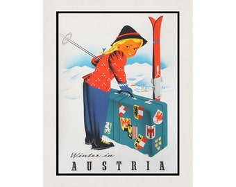 Vintage Poster Austria Skiing Winter Snow Travel Tourist Rustic Aged Finish