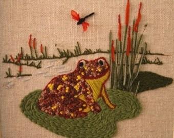 My Froggy Stuff Fiber Art Needlepoint Wall Decor Frog - SALE