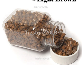 1000 PCS Light Brown Micro Link Beads Hook Pliers For Feather Hair Extension USA Seller
