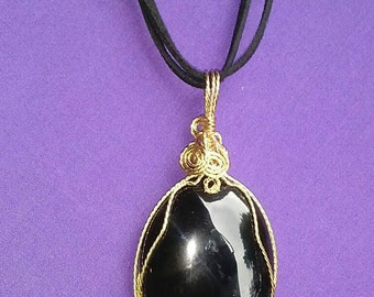 Wire Wrapped Black Onyx Cabochon