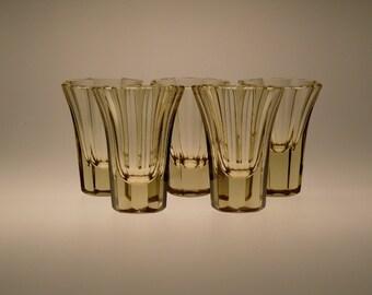 Czech Bohemian Art Deco Citrine Glasses Set of 5 pcs
