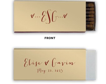 Heart Initials Personalized Anniversary Cigar Match Boxes - Personalized Favors, Party Favors, Custom Printed Matches
