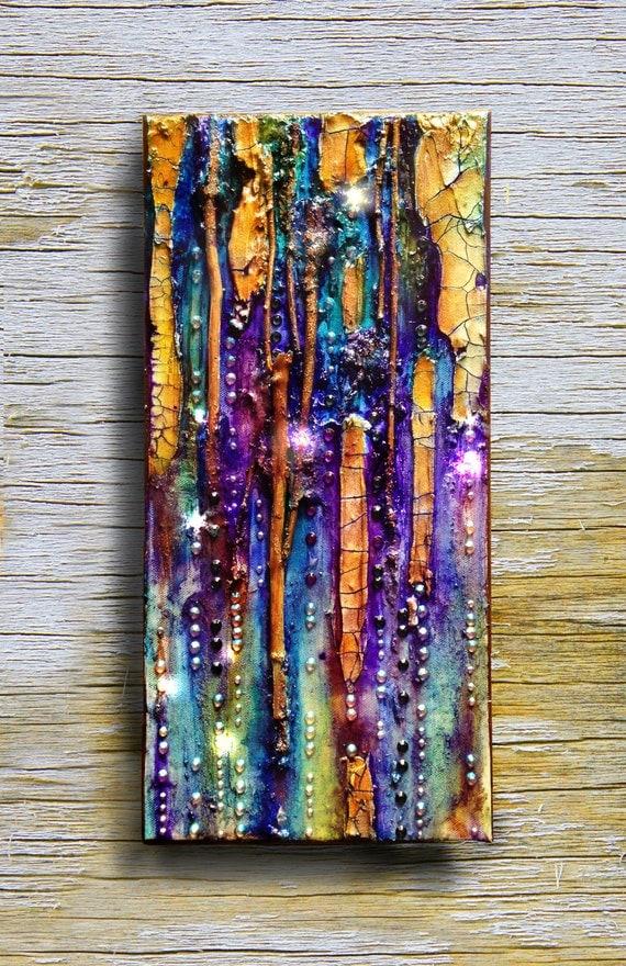 Original mixed media painting, abstract small canvas Octopus Garden #1, glass, tree branch, iridiscent , wall art, jewels, rhinestone