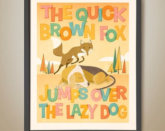 The quick brown fox. Alphabet. Learning to read. Educational. Fox. Bedroom Poster. Retro. Lazy Dog. Letters. Reading. Learn the alphabet.